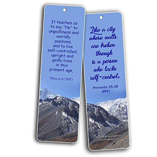 Bible Verses Related to Temperance Bookmarks (30-Pack) - Handy Bible Verses on How To Practice Temperance