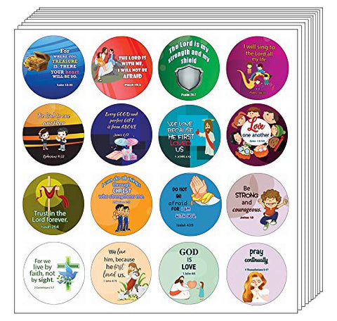 Cute Bible Verses Stickers for Kids  (16 Round Shape)