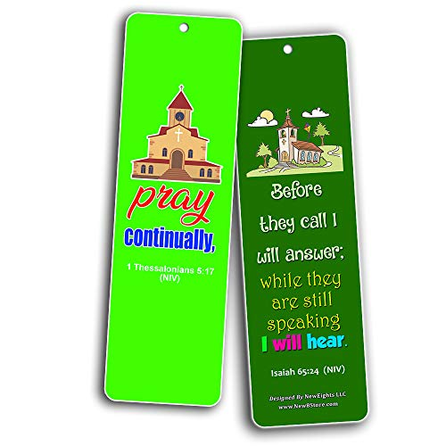 Easy Bible Scriptures Bookmarks for Kids - Prayer (60-Pack) - Perfect Gift Away for Sunday Schools