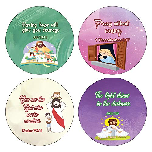 Religious Stickers for Kids (16 Round Shape) (10 Sheets) - Assorted Mega Pack of Inspirational Stickers For Young Children