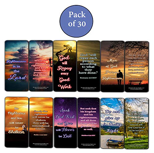 Encouraging Scriptures Bookmarks About Righteousness (30-Pack) - Stocking Stuffers Devotional Bible Study - Church Ministry Supplies Teacher Classroom Incentive Gifts