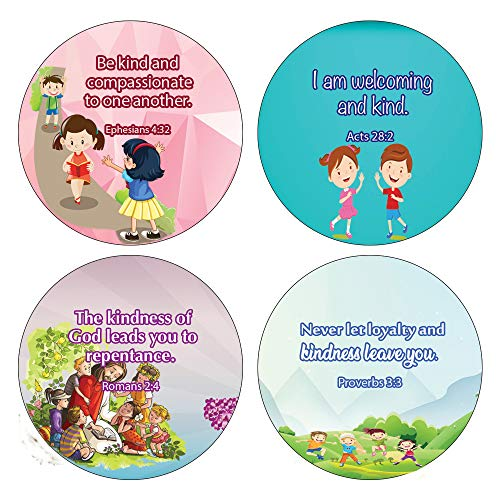 Kindness Bible Verses Stickers for Kids (20-Sheet) - Motivational Stickers