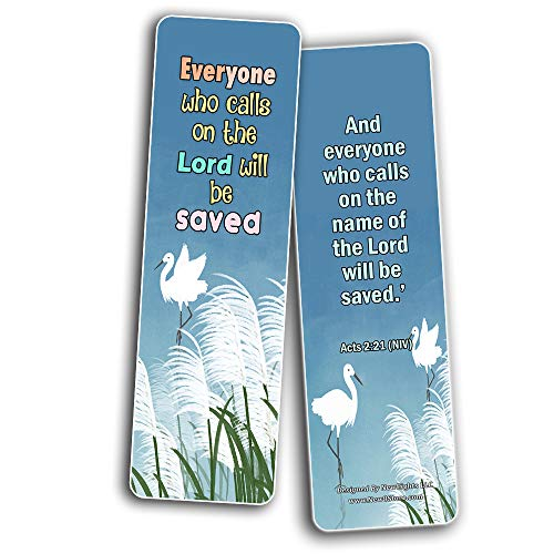Salvation Scriptures Cards Bookmarks for Kids (30 Pack) - Well Designed and Easy To Memorize Bible Verses For Kids