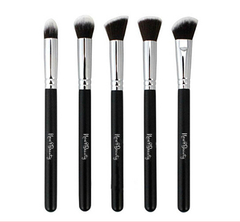 New8Beauty 5 pcs Mini Kabuki Makeup Precision Brushes Set with FREE Cosmetic Leather Pouch