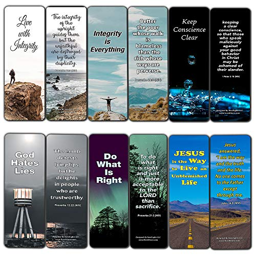 Bible Verses About Integrity Bookmarks (60-Pack) - Stocking Stuffers for Men Women Dad Mom Cell Group Church Supplies VBS