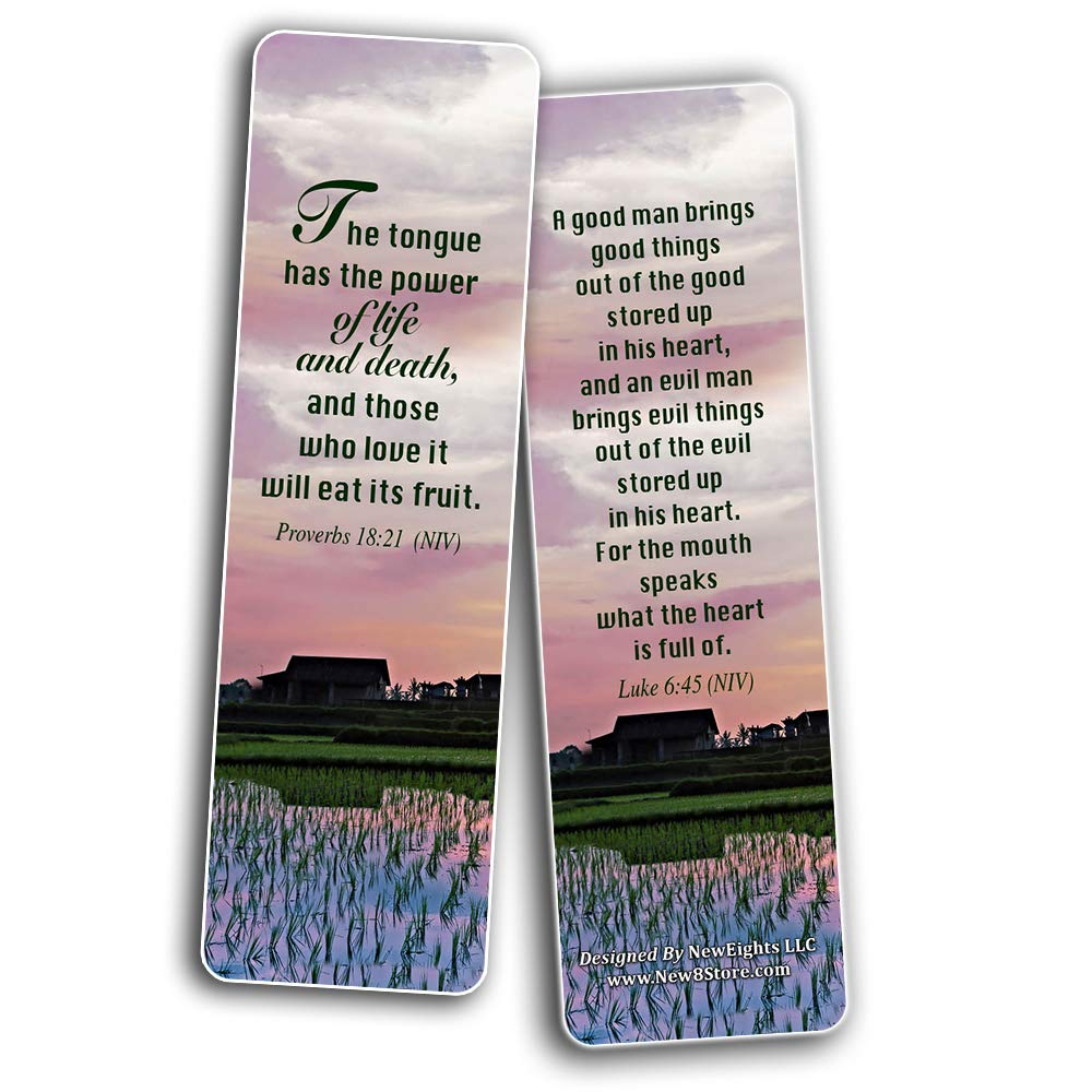 Christian Bookmarks Scriptures Cards (60-Pack) from NIV Bible - Speak Life  Bible Verses About the Tongue- Religious Gifts for Men Women Teens Kids -