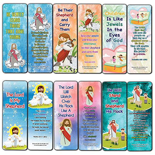 Popular Bible Verses about The Lord Is My Shepherd Bookmarks Cards (30-Pack) - Daily Memory Verses For Children