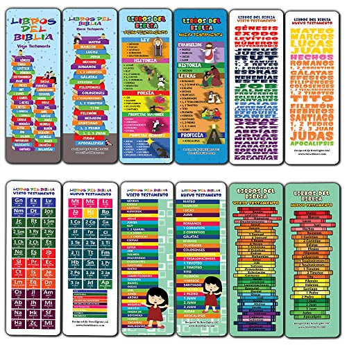 Spanish Books Of The Bible Bookmarks for Kids (30-Pack) - Stocking Stuffers for Boys Girls - Children Ministry Bible Study Church Supplies Teacher Classroom Incentives Gift