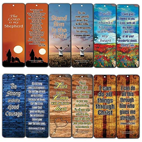 Popular Bible Verses Bookmarks Cards (12-Pack) - Be Strong & Courageous Psalm 23 Proverbs 3:5,6, Philippians 4:13 - Premium Quality Religious Gifts for Men Women Teens Kids