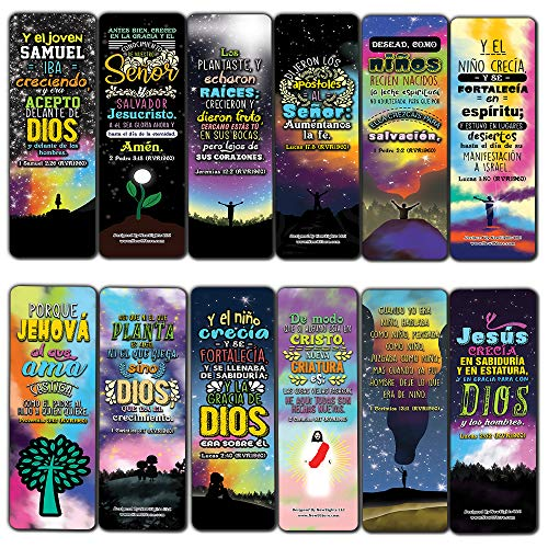 Spanish Spiritual Growth Bookmarks (30-Pack) - Stocking Stuffers for Boys Girls - Children Ministry Bible Study Church Supplies Teacher Classroom Incentives Gift