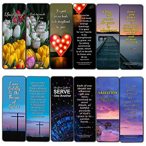 Bible Verses About Marvelous Grace Bookmarks Cards (60-Pack) - Stocking Stuffers for Women Mom Men Dad Church Supplies Pastor Worship Team Baptism