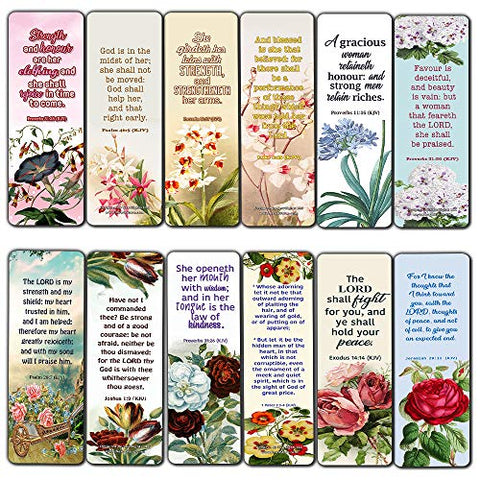 Religious Empowering Bible Verses Flowers Bookmarks for Women