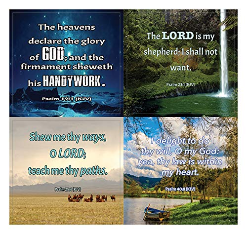 Short KJV Bible Scriptures Stickers (20-Sheet) - Great Giftaway Stickers for Ministries