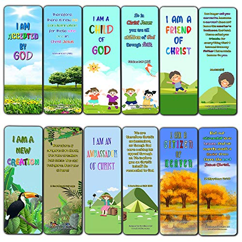 Christian Bookmarks for Kids - Identity in Christ (30 Pack) - Well Designed for Kids - Stocking Stuffers Devotional Bible Study - Church Ministry Supplies Teacher Classroom Incentive Gifts
