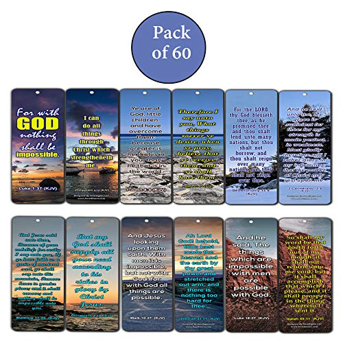 Religious Bible Quotes Bookmarks for Doing The Impossible (KJV) (60-Pack) - Compilation of Motivational Bible Verses
