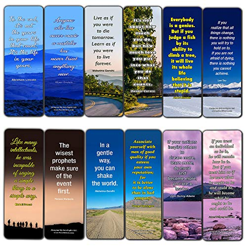 Inspirational Quotes Bookmarks Cards Series 4 (12-Pack)