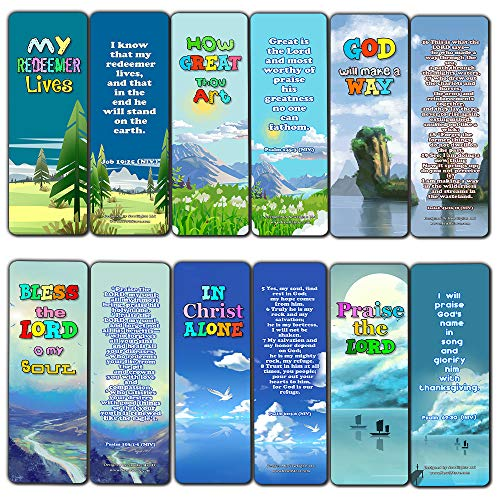 In Christ Alone Bible Bookmarks for Kids (60 Pack) - Perfect Gift away for Sunday School and Ministries - Church Memory Verse Sunday School Rewards - Christian Stocking Stuffers Birthday Assorted Bulk