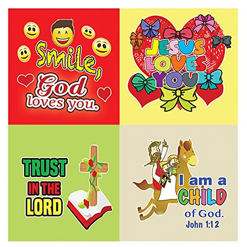 Christian Stickers - Smile, God Loevs You - (5 Sheets) - God loves All The Little Ones