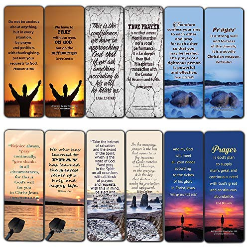Religious Bookmarks Cards (12-Pack) - Prayer Bible Verses and Christian Quotes - Holy Scriptures to Encourage Men Women Teens Boys Girls Kids - Stocking Stuffers for Easter Thanksgiving Christmas