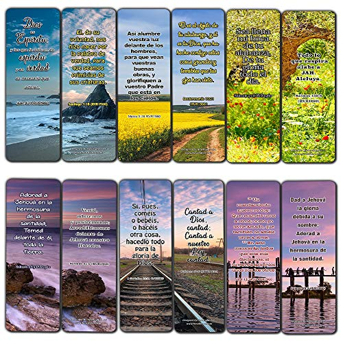 Spanish Worship Bible Verses Bookmarks (60 Pack) - Perfect Giveaways for Sunday School and Ministries Designed to Inspire Women