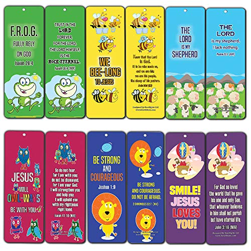 Cute Animal Bible Verses Bookmarks for kids Boys Girls (30 Pack)- VBS Sunday School Easter Baptism Thanksgiving Christmas Rewards Encouragement Gift