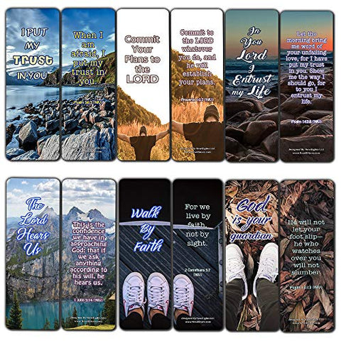 Scriptures Bookmarks - Bible Verses about Trusting God (60 Pack) - Perfect Gift away for Sunday School and Ministries - Stocking Stuffers Adoration Devotional Bible Study - Church Ministry Supplies