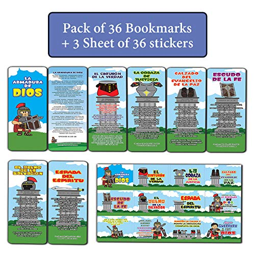 Spanish Armor of God Bookmarks and Stickers for Kids