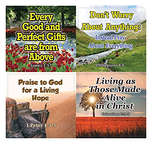 Religious Stickers - Hope and Gratitude (20-Sheet) - Thankful and Increasing Faith Bible Texts - Perfect Giveaways for VBS and Church Ministries