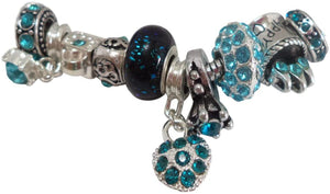 Blue Rhinestone Beads, Dangle & Lampwork Set