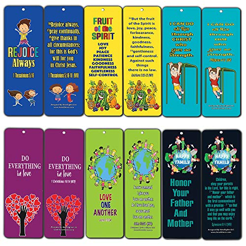 Bible Verses Bookmarks for Kids Boys Girls (60-Pack)- Character Building Bookmarker Bulk Set - Fruit of the Spirit - Philippians 4:13 - Honor Father Mother - Love One Another -Stocking Stuffers Gifts