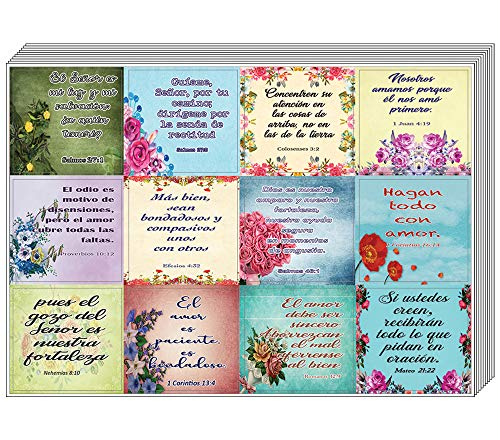 Spanish Christian Stickers for Women Series 3 (10-Sheet) - Spanish Stickers with Biblical Quote for Women
