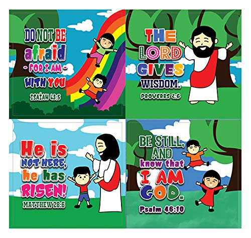 Jesus is the Only Way Bible Verse Stickers (20-Sheet) - Church Memory Verse Sunday School Rewards - Christian Stocking Stuffers Birthday Party Favors Assorted Bulk Pack