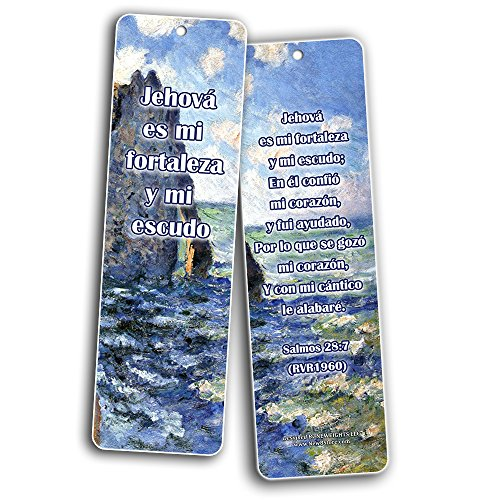 Spanish Bible Inspirational Bookmarks Cards Be Strong (60-Pack)- Jerem¡as 29:11 Josu' 1:9 Salmos 23:4 Sunday School Homeschooling Bible Journal Craft Devocionales Cristianos en Espa¤ol