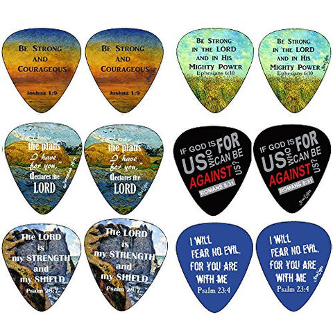 Christian Guitar Picks - Be Strong - 12 pack