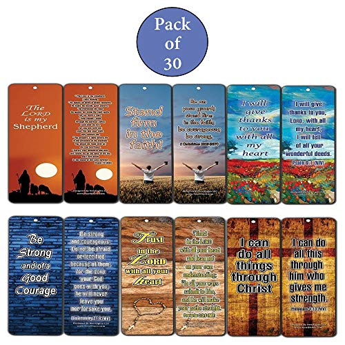 Christian Bookmarks Assorted Bulk Set (60-Pack)- Inspirational Bible Verses Be Strong & Courageous - Religious Gifts to Encourage Men Women Boys Girls Co Worker - Stocking Stuffers - Wall Decor