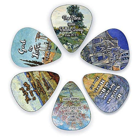 "Guitar Picks with Christian Theme - ""God Is Love"" Messages (12 Pack)"