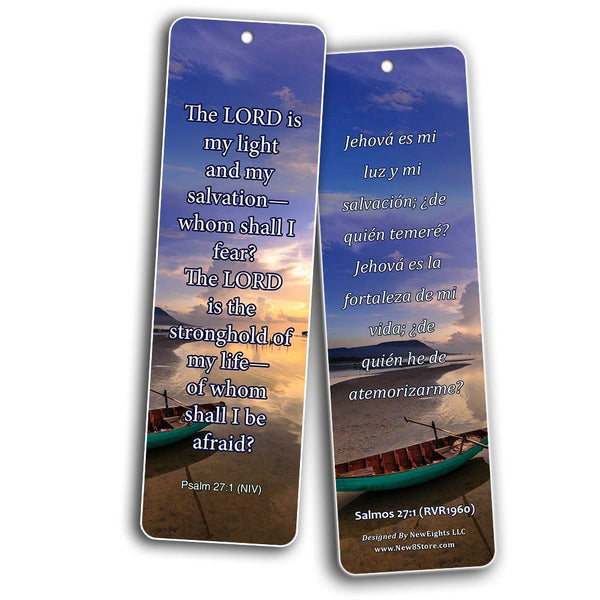 Bilingual Encouraging Bible Verses Bookmarks - Overcome Fear
