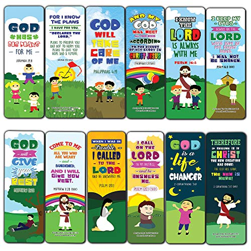 Top Bible Verses for God's Promises Bookmarks for Kids (60-Pack) - Church Memory Verse Sunday School Rewards - Christian Stocking Stuffers Birthday Party Favors Assorted Bulk Pack