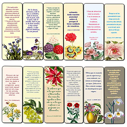 Spanish Flower Bookmarks for Women Series 1 (30 Pack) - RVR1960 - Powerful Words of God to Encourage and Inspire You to be Godly Disciples - Proverbs 3:5-6 John 3:16 - Stocking Stuffers