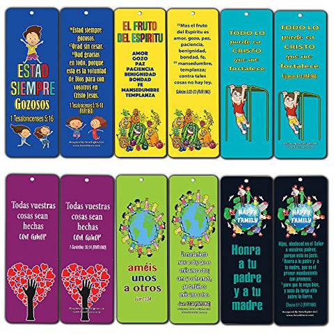 Spanish Character Building Bible Verses Bookmarks  (12-pack)