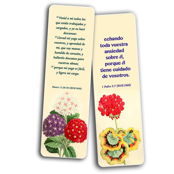 Spanish Flower Bookmarks KJV Scriptures Series 1