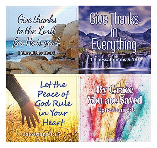 Religious Stickers - Hope and Gratitude (5-Sheet) - Thanksgiving Grateful Trusting - Easter Stuffing Stockers