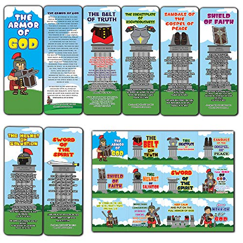 Armor of God Bookmarks (60-Pack) and 60 Stickers (5-Sheet) for Kids - Church Memory Verse Sunday School Rewards - Christian Stocking Stuffers Birthday Party Favors Assorted Bulk Pack