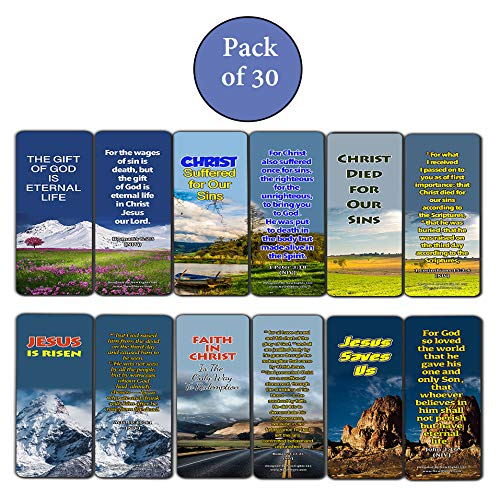 Top Bible Verses Bookmarker Cards (30 Pack) - Christian Gifts for Men Women - Jesus is Risen Resurrection of Christ God's Love - Church Supplies Encouragement