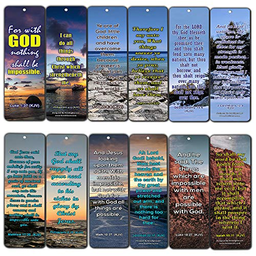 Religious Bible Quotes Bookmarks for Doing The Impossible (KJV) (30-Pack) - Handy Bible Verses Perfect for Daily Encouragement