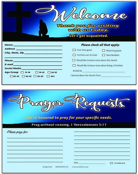 Church Visitor Card and Prayer Request Card Set A (60-Pack) - Single Design Prayer Request and Church Member Information
