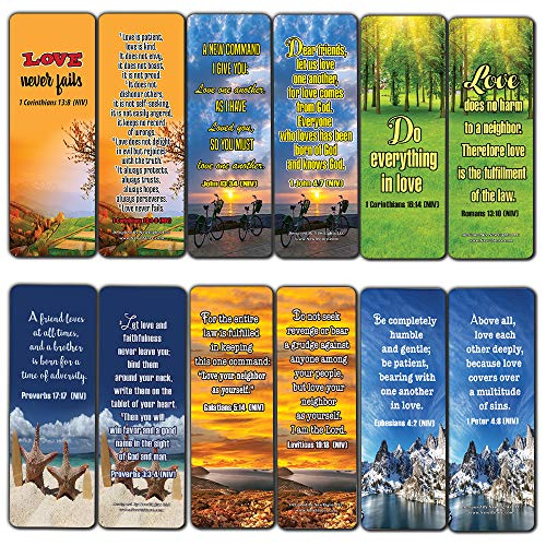 Christian Bookmarks Cards - Love One Another (30 Pack) - Perfect for Ministry and Giftaway