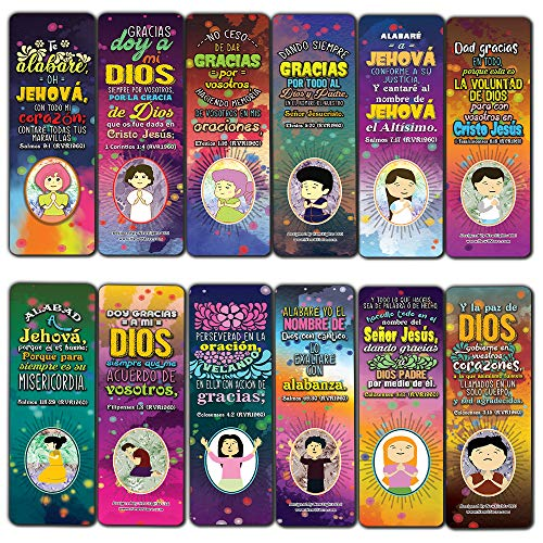 Spanish Thank You Lord Bible Verse Bookmarks (30-Pack) - Stocking Stuffers for Boys Girls - Children Ministry Bible Study Church Supplies Teacher Classroom Incentives Gift
