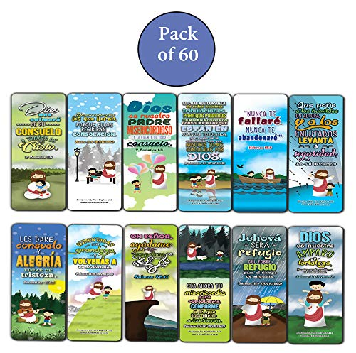 Spanish God's Comfort Christian Living Bookmarks (60-Pack) - Church Memory Verse Sunday School Rewards - Christian Stocking Stuffers Birthday Party Favors Assorted Bulk Pack