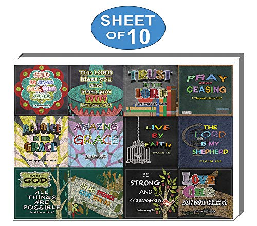 Colorful Bible Verse Stickers (10-Sheet) - Encouraging Colorful Stickers